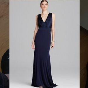 NWT Vera Wang V Neck Draped Back Navy Evening Gown